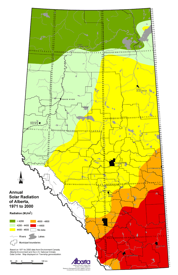 Agricultural Land Resource Atlas Of Alberta Annual Solar - Us solar radiation resource maps